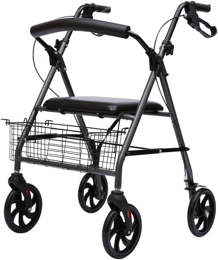 LNDDP Andador estándar para Andar con Andador Plegable con Asiento y Ruedas, Andador Transporte para Personas con Movilidad Reducida y discapacitados, Andador Ligero para Personas Mayores, Negro