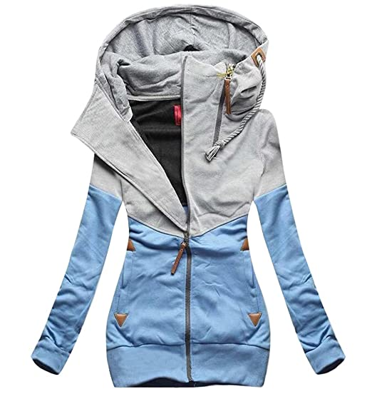 8e70e8d1c447 Oberora Womens Fashion Zip Up Color Block Hooded Jacket Coat Outerwear  Sweatshirt at Amazon Women's Coats Shop