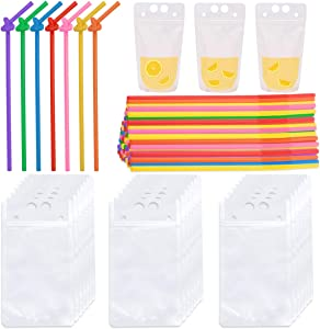MotBach 60 Pcs Stand-Up Plastic Transparent Drink Pouches Bags with 60 Pcs Disposable Drink Straws, Reclosable Zipper Shakes Juices Smoothie Drinking Bags, Hand-held Drink Container, 16 Oz