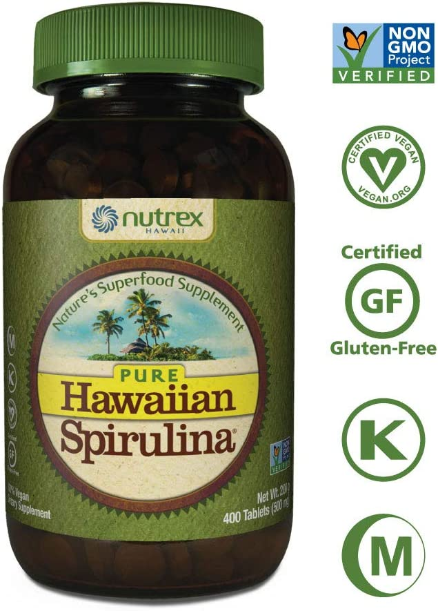 Pure Hawaiian Spirulina-500 mg Tablets 400 Count – Natural Premium Spirulina from Hawaii – Vegan, Non-GMO, Non-Irradiated – Superfood Supplement Natural Multivitamin