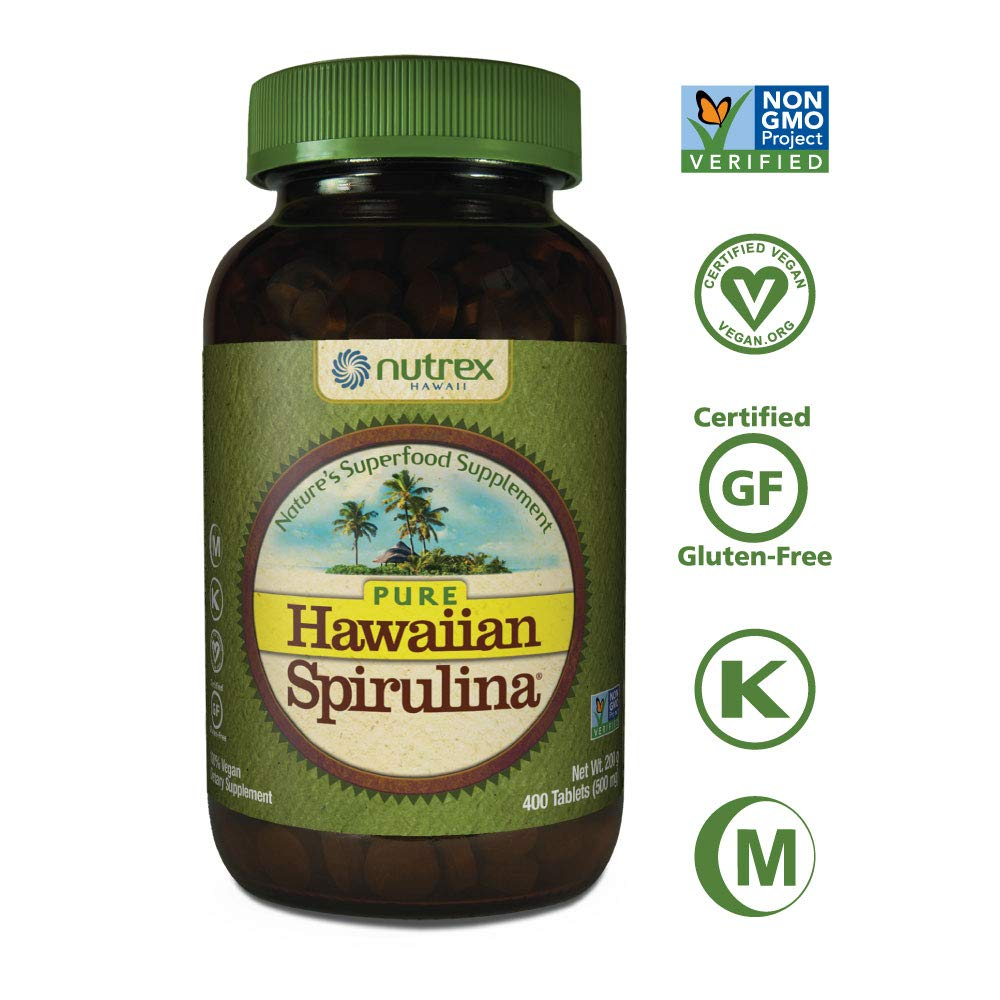 Pure Hawaiian Spirulina-500 mg Tablets 400 Count - Natural Premium Spirulina from Hawaii - Vegan, Non-GMO, Non-Irradiated - Superfood Supplement & Natural Multivitamin by NUTREX HAWAII