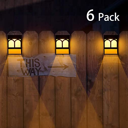 Solar Deck Lights, Led Outdoor Garden Decorative Wall Mount Fence Post Lighting-6pack Renewed