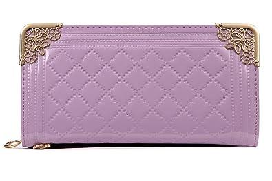 69301a04c2e3 Amazon | 長財布 レディース 薄い ブランド ファスナー 黒 黄 紫 ...