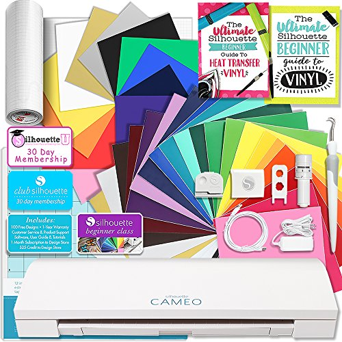 Silhouette CAMEO 3 Bluetooth Creative Bundle with 12 Oracal, 651 Sheets and 12 Siser Easyweed Heat Transfer Sheets by Silhouette