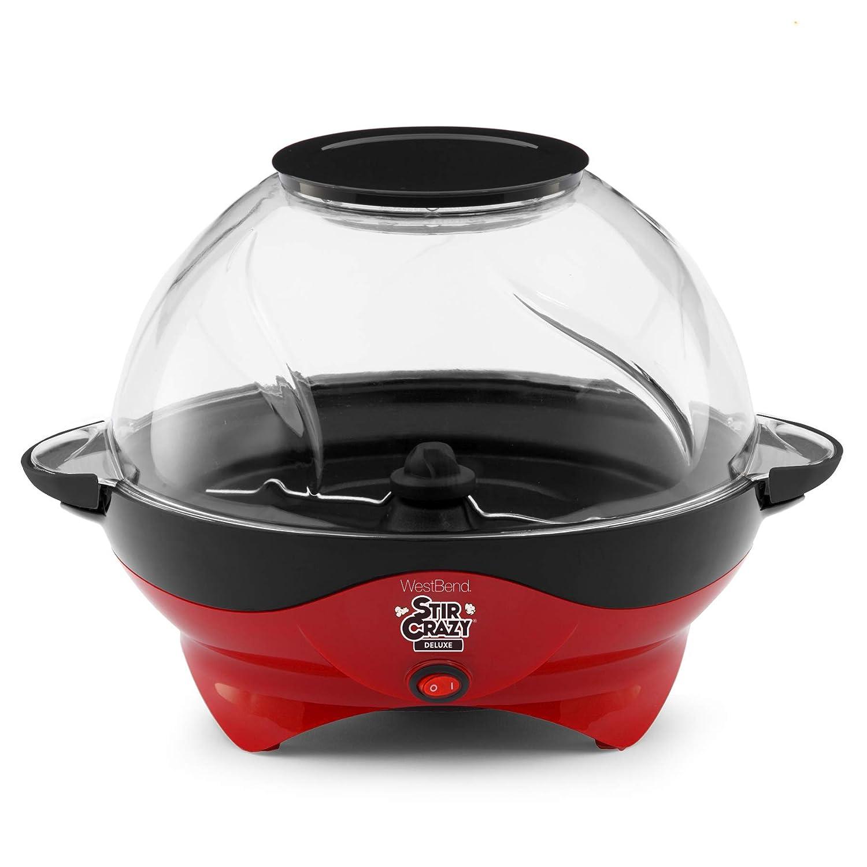 West Bend 82310R Stir Crazy 2 Stirring Popcorn Popper, 6-Quart, Red