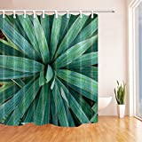 Leaves Decor Shower Curtains By KOTOM Botanical Pricky Plant Leaves Naturai Summer Spring Bath Curtains, 72X72 Inches