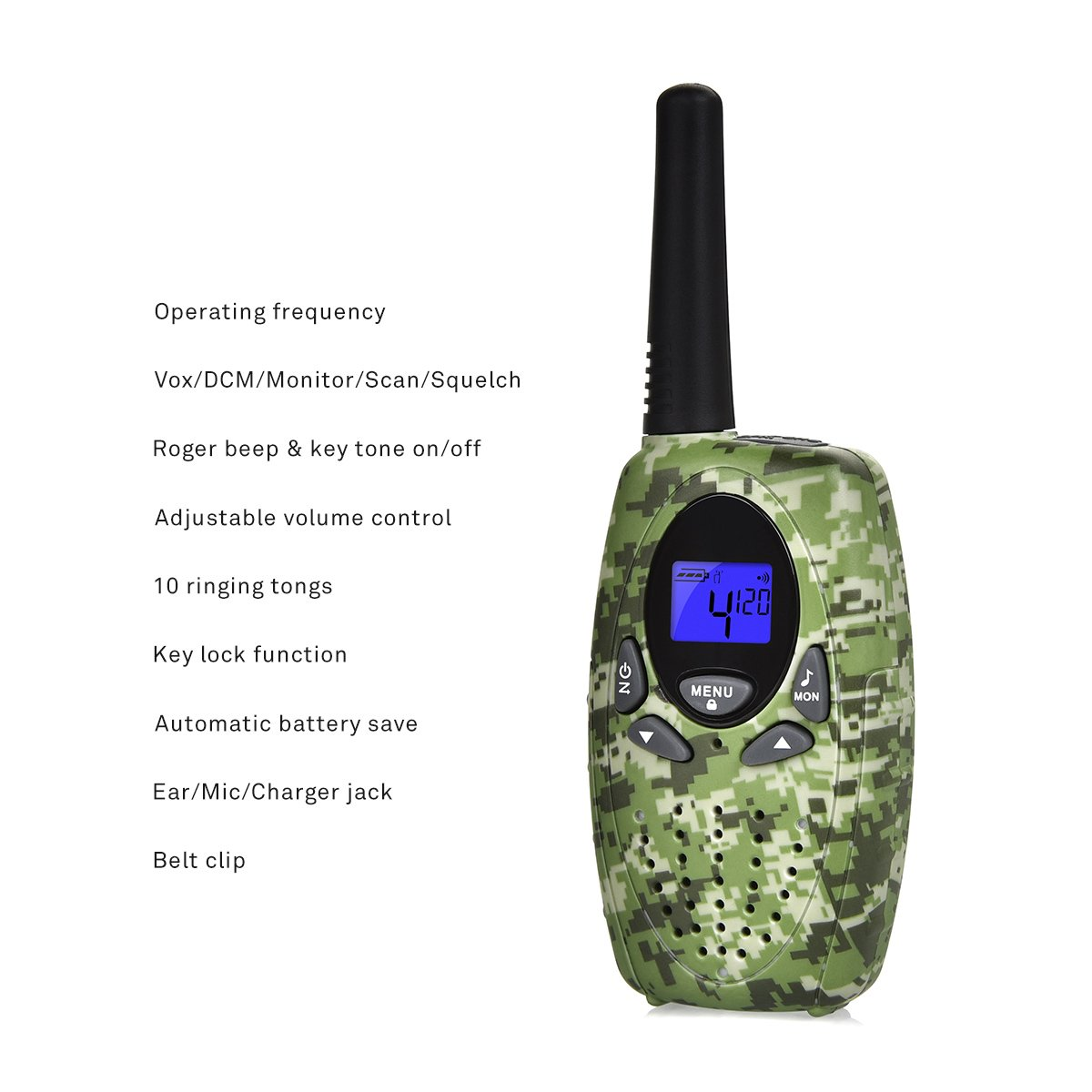 Swiftion Handheld Kids Walkie Talkies boys Rechargeable 22 Channel 0.5W FRS/GMRS Walky Talky Kids 2 Way Radios Kids walkie talkies camouflage disruptive pattern (Camouflage)