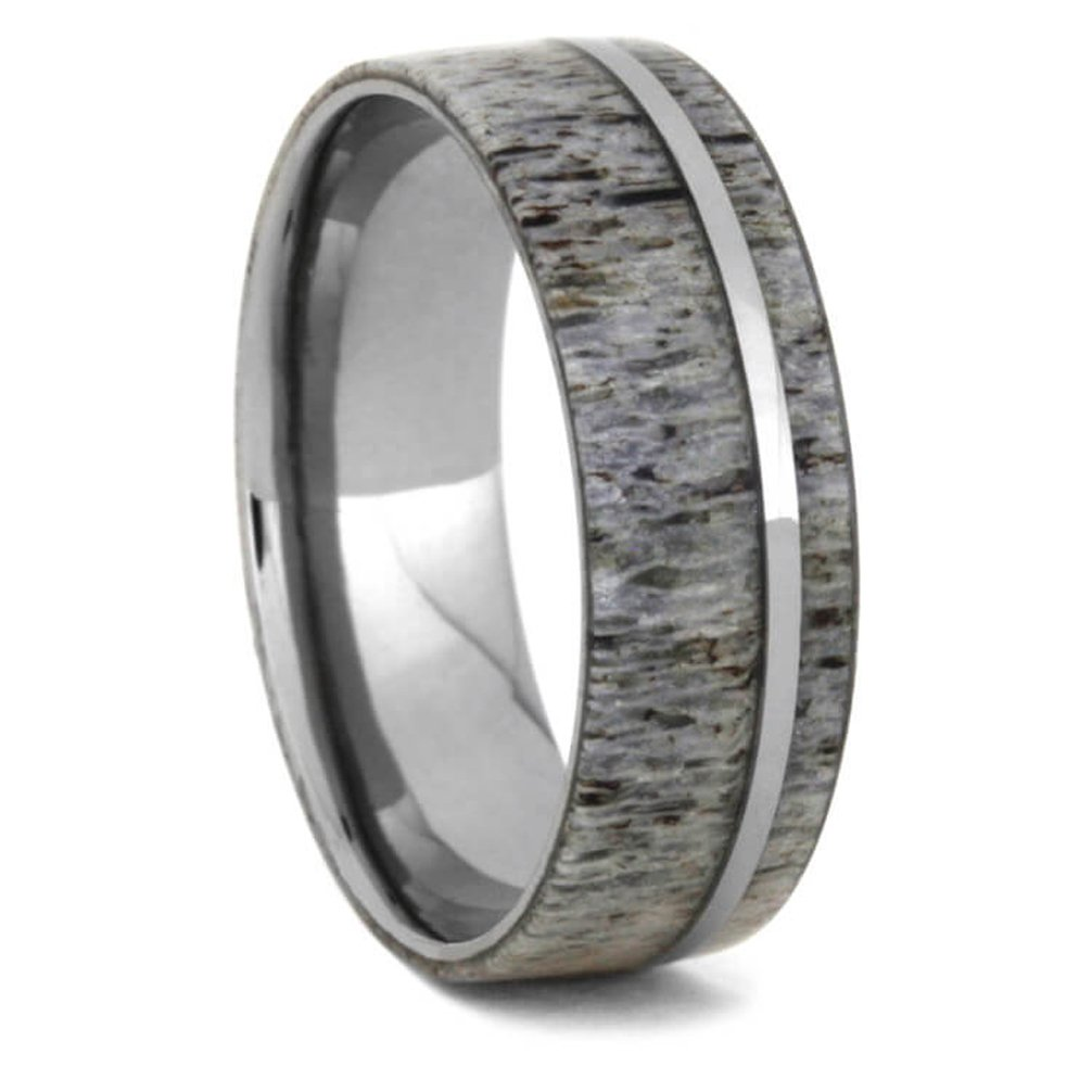 Deer Antler 8mm Comfort-Fit Titanium Wedding Band, Size 9 by The Men's Jewelry Store (Unisex Jewelry) (Image #8)