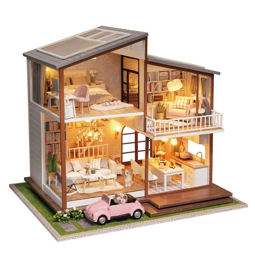 Yishelle DIY aus Holz Puppenhaus handgefertigte zusammengebaute Miniatur-Kit mit Staubschutz - Dream Big House Modell & Möbel für kreative Geburtstagsgeschenk