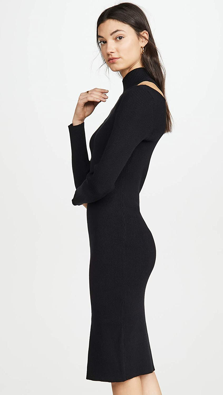 ASTR the label Womens Vivi Cut Out Rib Knit Turtleneck Sweater Dress Dress