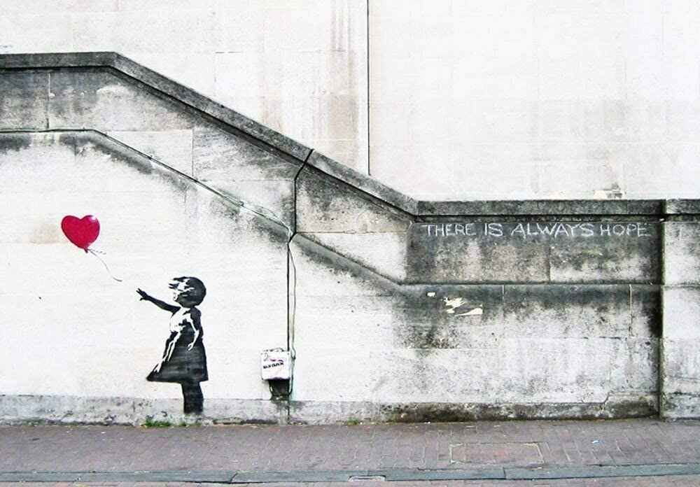 Wieco Art Canvas Paintings Wall Art Banksy Grafitti Girl with Red Balloon Grey Large Love Canvas Prints Pictures Modern Gallery Wrapped Inspirational Artwork Ready to Hang for Home Office Decor