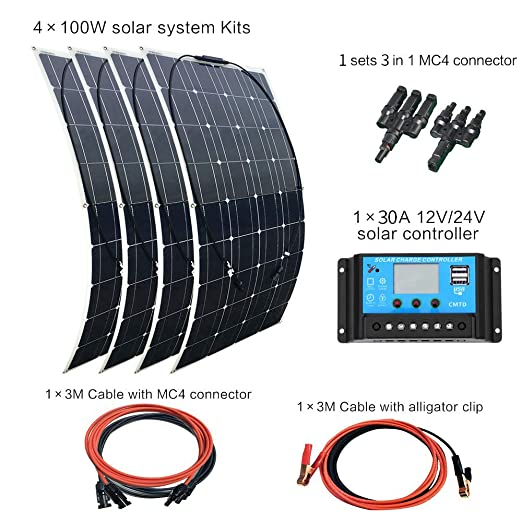 1 opinioni per XINPUGUANG 400 w kit pannello solare flessibile monocristallino pohovoltaic 4 pz