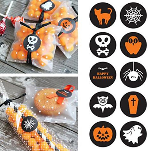 Efivs Arts 200pcs Halloween Decorative Adhesive Label Personalized Decorative Sealing Stickers for Halloween Party -
