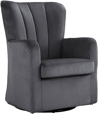 Modern Velvet Swivel Armchair, Rotating Accent Chair For Living Room With  Pleated Back (Dark