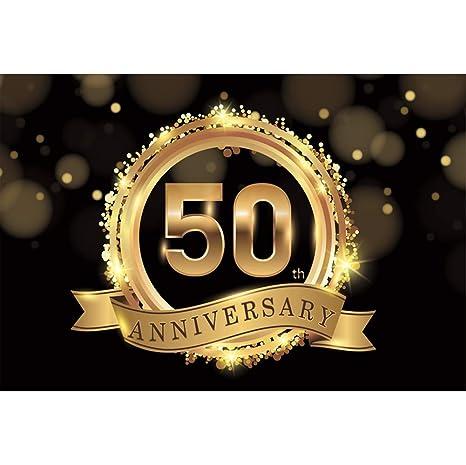 Cassisy 2,2x1,5m Vinilo Cumpleaños Telon de Fondo 50º Aniversario Estandarte Dorado Resplandecer Lentejuelas Bokeh Fondos para Fotografia Party ...