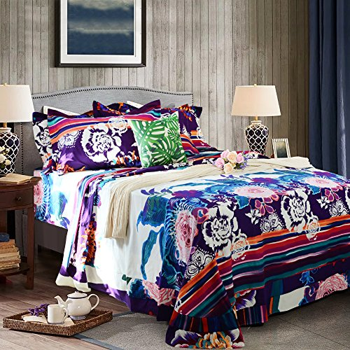 FADFAY 100% Super Soft Brushed Cotton Bedding Sets Bohemian Floral Bed Sheet Set Boho Style Fitted Sheets 4Pcs-Queen