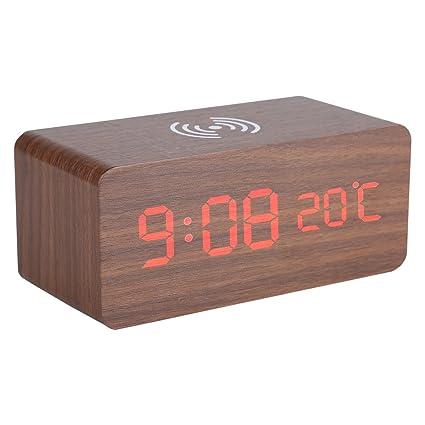 Asixx Despertador Digital, Reloj Despertador, Despertador de Madera, con Control de Sonido,