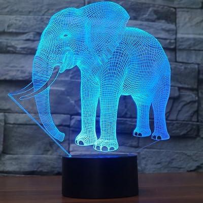 7 Nuit 3d Illusion Fantaisie Led Lumière Avec Éléphant Lampe De OwZXuTlPki