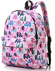 Lily & Drew Lightweight Canvas Travel School Backpack for Women Girls Teens Kids