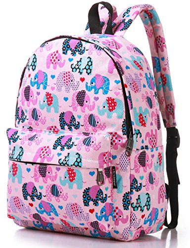 Canvas Travel School Backpack for Women Girls Boys Teens Kids Children (Elephant Pink Medium) by Lily & Drew