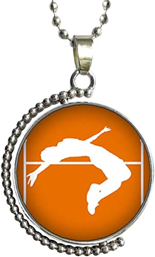 GiftJewelryShop Life Saver Glass Cabochon Rotatable Lucky Pendant Necklace
