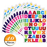 #8: Kenkio 40 sheets Letter Stickers Colorful Alphabet Stickers Cardstock Stickers, A to Z