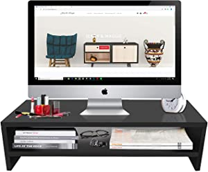 Jerry & Maggie - Monitor Stand | Laptop Stand | Computer Screen Support Large Middle Space - Modern Office Desk Wooden Like Rack Shelf Unit Storage Desk Organizer Shelving - Black