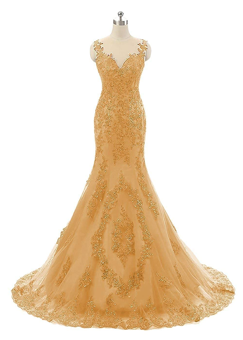 gold Sexy Sequin Mermaid Prom Dresses Long Lace Backless Spaghetti Strap Womens Pageant Evening Party Gown