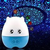 Generic Creative Lovely Pig Shape USB Projection Lamp Star LED Projector Night Light with Speaker Remote Control,Blue Green Red White Orange 5 Colors Changing,Blue