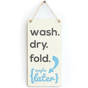Amazon.com: Lavar y secar. Plegable. - Elegante cartel retro ...