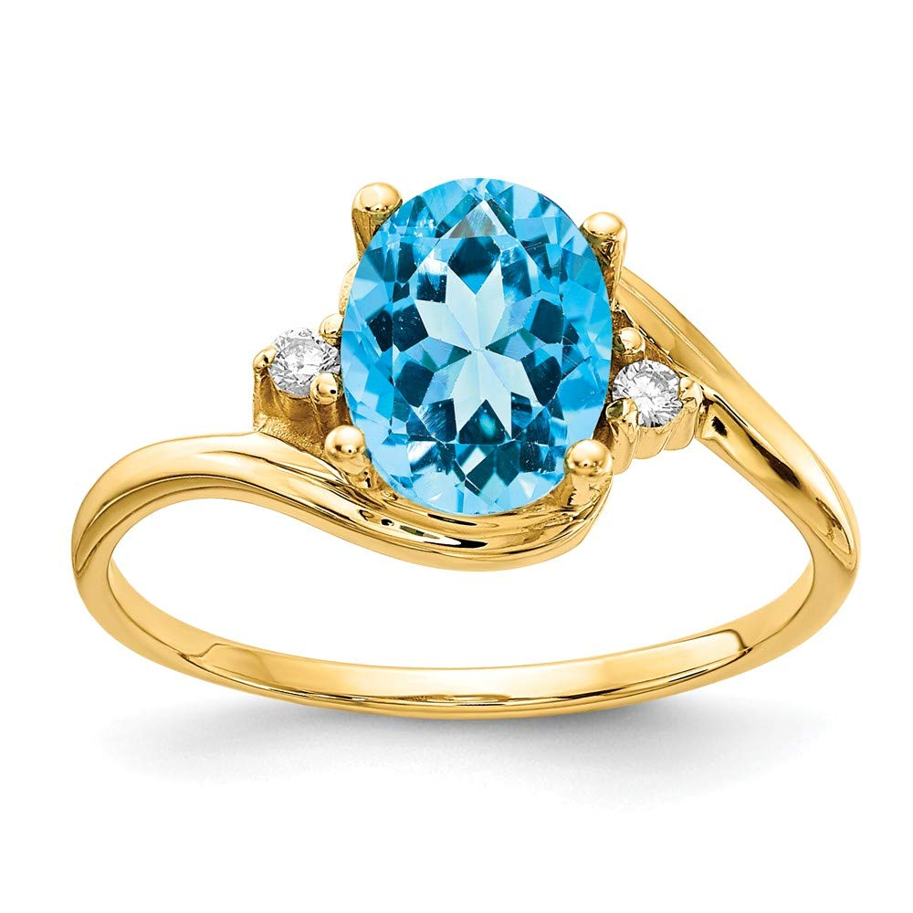 Jewelry Adviser Rings 14k 8x6mm Oval Blue Topaz AAA Diamond ring Diamond quality AAA SI2 clarity, G-I color