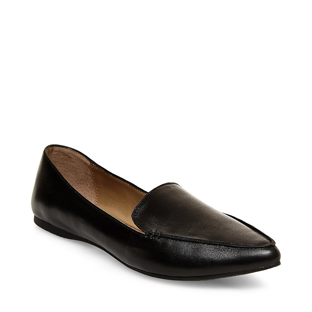 Steve Madden Women's Feather Loafer Flat, Black Leather, 8.5 M US by Steve Madden