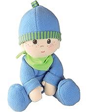 Haba 2617 - Kuschelpuppe Luis, weiche Stoffpuppe, für Babys ab 0 Jahren, mit Strampelanzug aus flauschigem Fleece, ideales Geschenk zur Geburt oder Taufe
