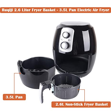 Amazon.com: Hot Air Fryer 3.5 Liter Pan- 2.6 Liter Fry Basket/ Oil Free Air Cooker with Adjustable Temperature and Time Control/ 30 Mins Auto Shut Off/ ...
