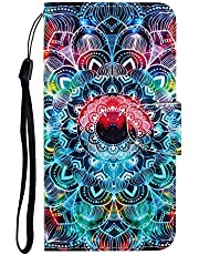 """Cfrau Flip Wallet Case with Black Stylus for iPhone 11 Pro Max,Premium Colorful Painted Magnetic Strap PU Leather Stand Card Slots Full Body Case for iPhone 11 Pro Max 6.5"""" 2019,Colorful Mandala"""