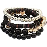 Wensltd Clearance! Women 4 Pcs Colorful Beads Multilayer Bangle Handmade Bracelets Florid Cool