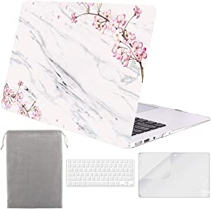 Sykiila for MacBook Air 11 Inch Case 4 in 1 Hard Shell Case & HD Screen Protector & Sleeve & TPU Keyboard Cover for Model A1370 / A1465 - Floral White Marble