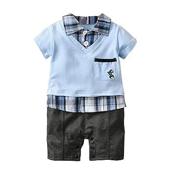 810be62bbbc7a Hot Sale!Todaies Summer Newborn Kids Baby Boys Clothes Plaid Gentleman  Short Sleeve Romper Jumpsuit