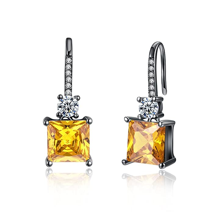Yellow Chimes Yellow Crystal Gun Plated Silver Plated Drop Earrings for  Women (Yellow) (YCFJER-1200SQR-YL)