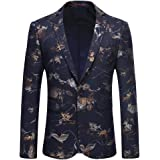 Mens Dress Floral Suit Slim Fit Single Breasted Stylish Casual Printed Blazer Jacket