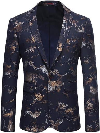 Mens Suits Blazer Floral Print Fit Coats Dress Formal Tops Luxury Design Jackets