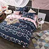 WarmGo Home Textile Duvet Cover Set Full/Queen Size 4 Piece for Adult Kids Green Hill House People Holiday Bedding Set - Not Include Comforter