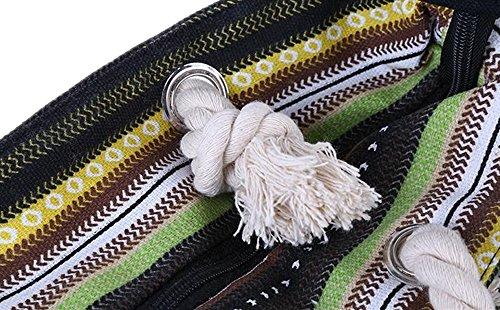 Bag Rope Bag For Large Women Picnic with Tote Canvas Girls Shopping Bag Beach SearchI Blue Shoulder Travel Stripe White Ladies Handle Bag Bag Black Summer EUnC6xqa