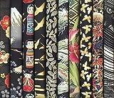 10 Black Asian Japanese Fat Quarter Quilt Fabric Bundle XXV (2 1/2 Yards Total)