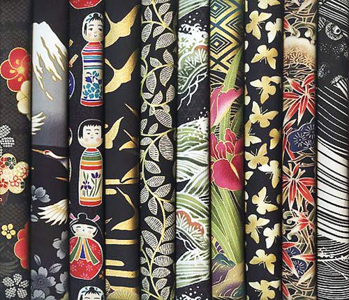 10 Black Asian Japanese Fat Quarter Quilt Fabric Bundle XXV (2 1/2 Yards Total) by Debsews Fabric