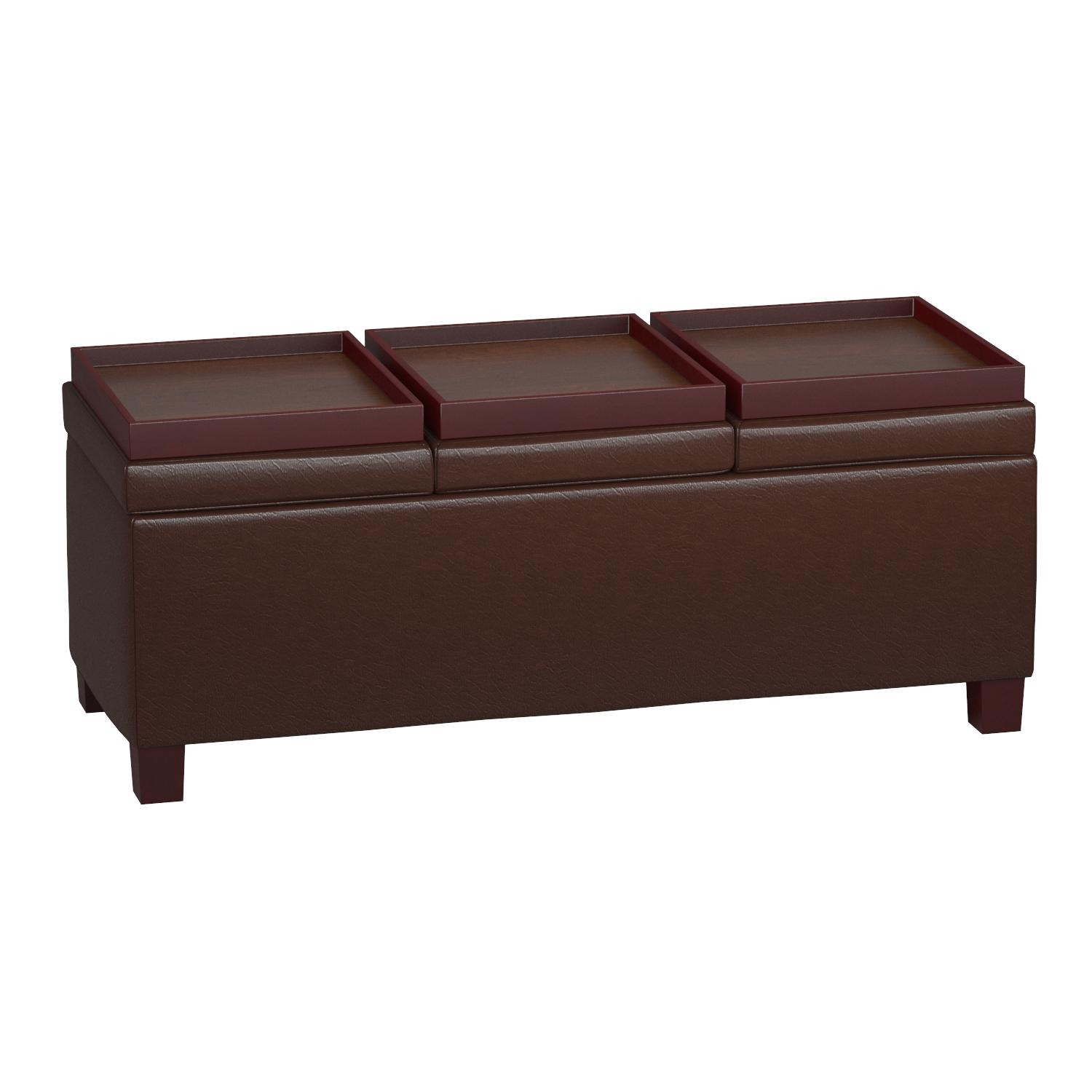 Amazon.com: Coaster Casual Dark Brown Faux Leather Storage Ottoman With  Reversible Trays: Kitchen U0026 Dining