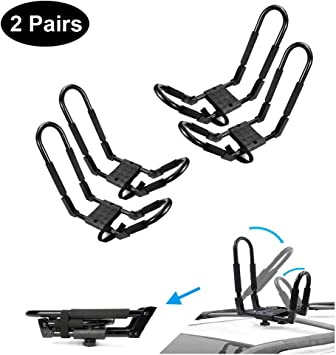DrSportsUSA 2 Pairs Universal Foldable J-Bar Kayak Rack Folding Car Roof Top Carrier for Canoe Kayaks Surfboard and Ski Board Rooftop Mount on SUV SUP Car and Truck