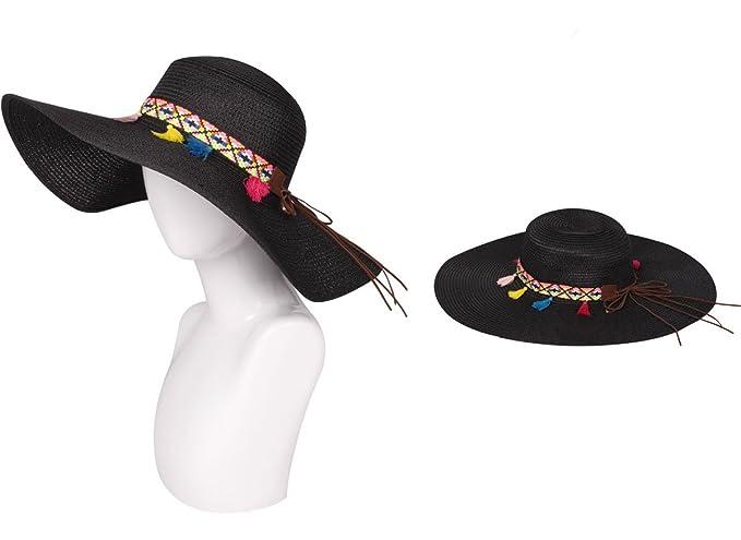 6966871eb Floppy Hat with Tassel Tribal Band, Black at Amazon Women's Clothing ...