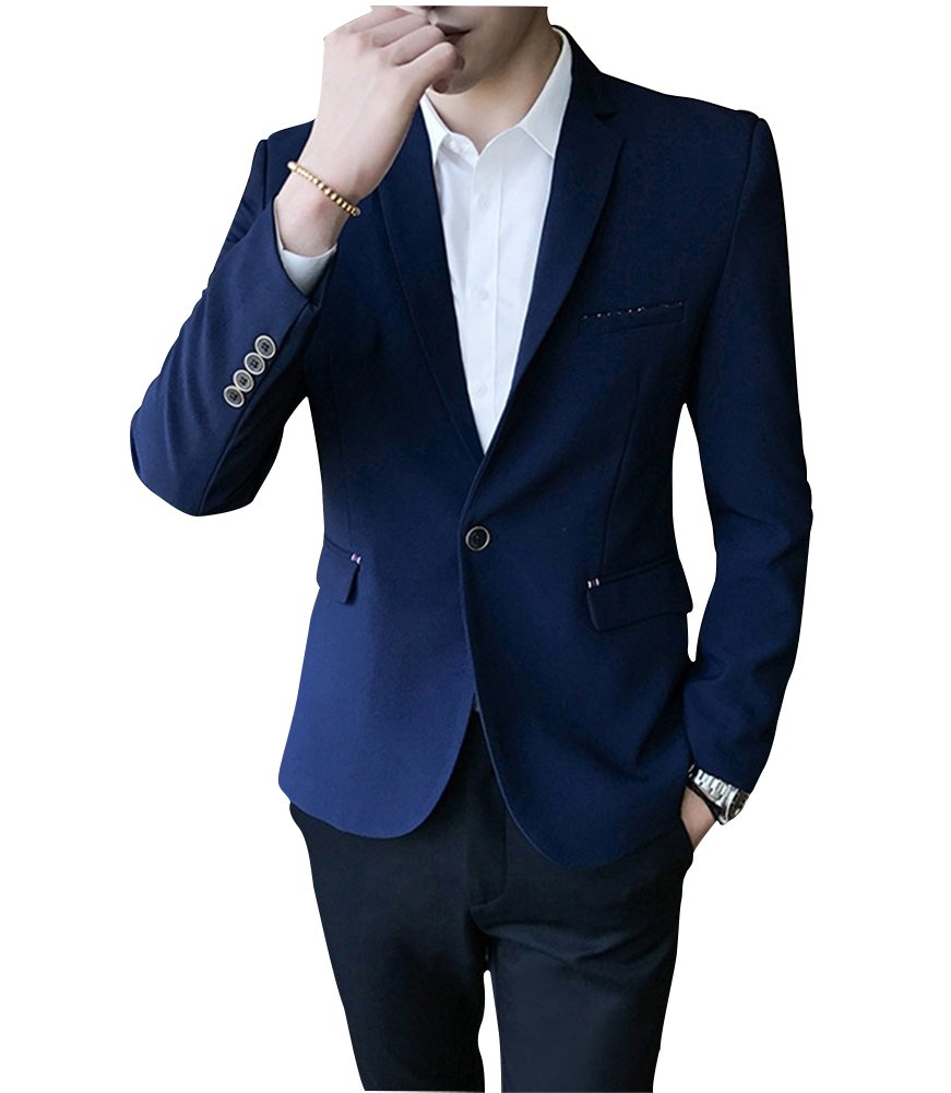 FOLOBE Mens Plaid 3-Piece Suit Single Breasted One Button Business Jacket, Blue