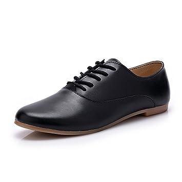 46fe7ac654e9c Amazon.com: York Zhu Women White Oxford Shoes,Lace up Round Toe ...